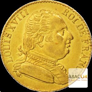 20 Francs Or Louis XVIII Buste Habillé