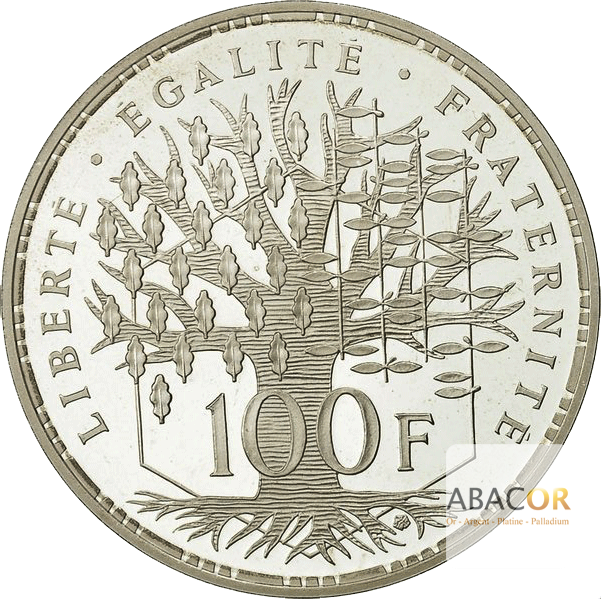 Pièce de 100 Francs en Argent Revers