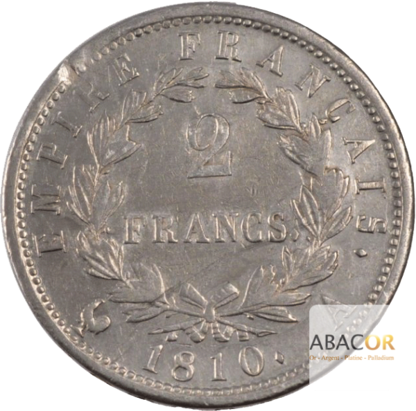 2 Francs Argent Napoléon Ier Lauré Revers Empire