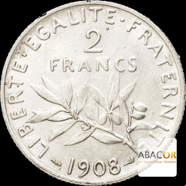 Pièce de 2 Francs Semeuse en Argent Revers