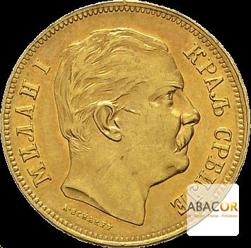 20 Dinars OrMilan Obrenovitch IV -Union Latine Serbie