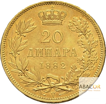 20 Dinars Or Milan Obrenovitch IV - Union Latine Serbie
