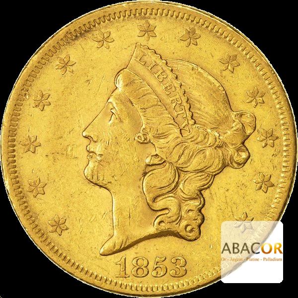 20 Dollars Or (1849-1866) Liberty Sans Devise