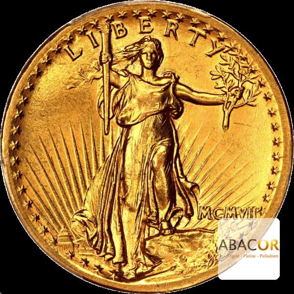 20 Dollars Or MCMVII 1907 Saint-Gaudens Haut Relief