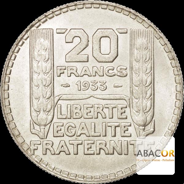 Pièce de 20 Francs Turin en Argent Revers