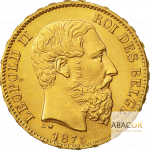 20 Francs Or Belge Leopold II Union Latine Avers