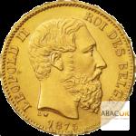20 Francs Or Belge Leopold II Union Latine Avers