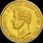 20 Lires Or Charles-Albert Union Latine avers