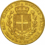 20 Lires Or Charles-Albert Union Latine Revers