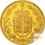 20 Lires Or Humbert Ier (Umberto I) Union Latine Revers