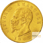 20 Lires Or Victor Emmanuel II Union Latine Avers