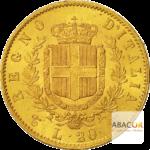 20 Lires Or Victor Emmanuel II Union Latine Revers