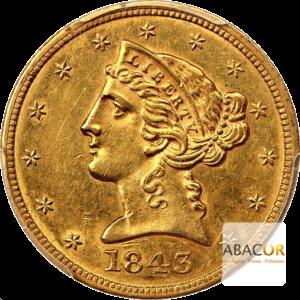 5 Dollars Or Liberty Sans Devise 1839 à 1866