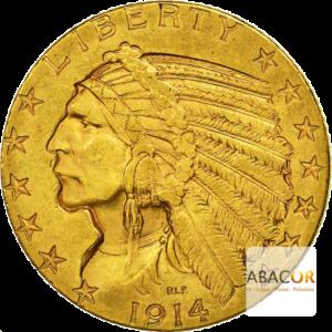 5 Dollars Or Tête d'Indien 1908 à 1929