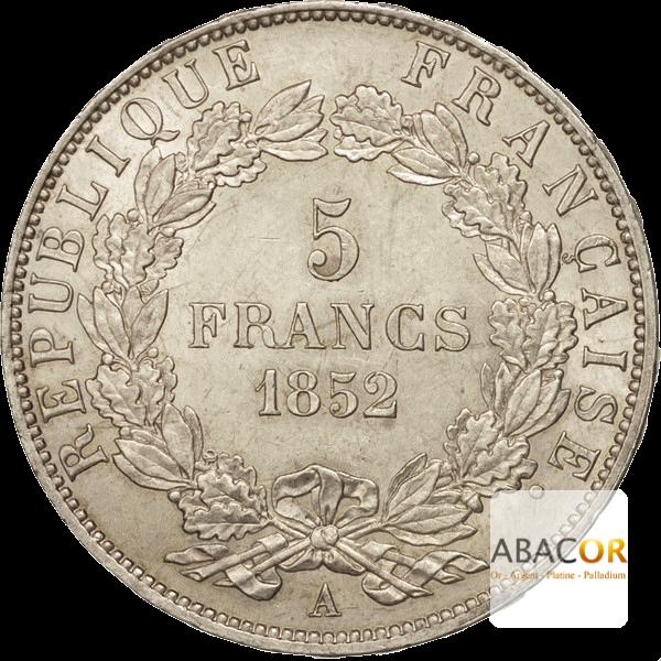 Pièce de 5 Francs Écu en Argent Revers