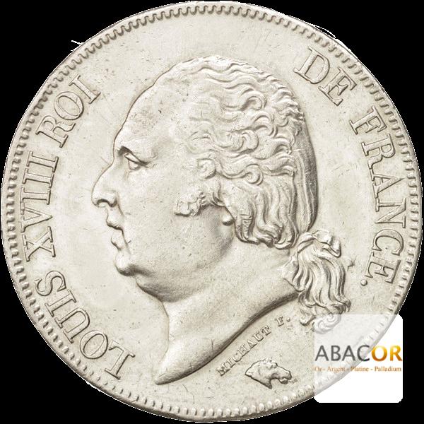 5 Francs Argent Louis XVIII Buste Nu