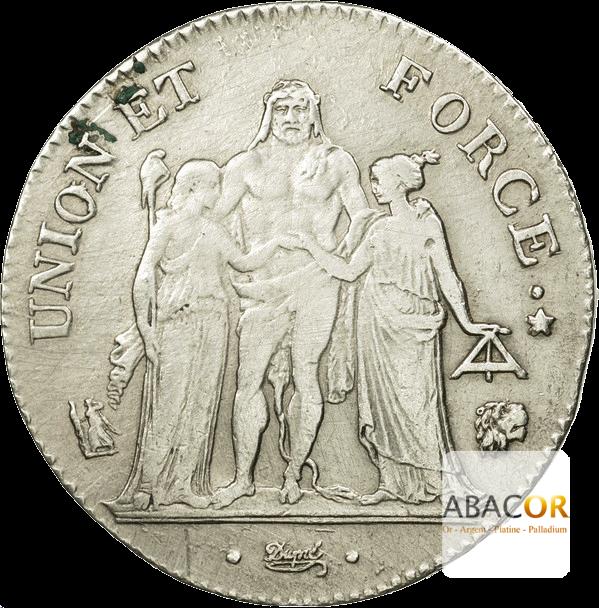 5 Francs Argent Union et Force Directoire