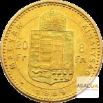 8 Florins Or - 20 Francs Autriche François Joseph 1er Union Latine Revers