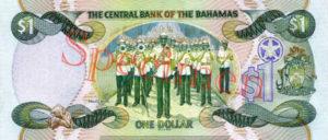 Billet 1 Dollar Bahamas BSD 2001 verso