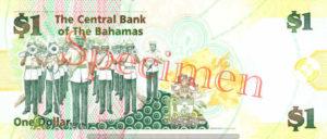 Billet 1 Dollar Bahamas BSD 2008 verso