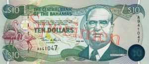 Billet 10 Dollar Bahamas BSD 2000 recto