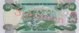 Billet 10 Dollar Bahamas BSD 2000 verso