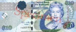 Billet 10 Dollar Bahamas BSD 2005 recto