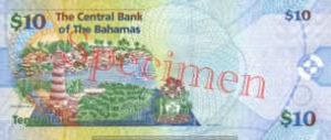 Billet 10 Dollar Bahamas BSD 2005 verso