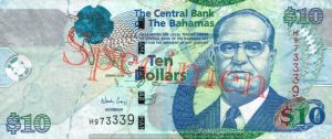 Billet 10 Dollar Bahamas BSD 2009 recto
