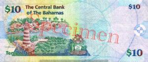 Billet 10 Dollar Bahamas BSD 2009 verso