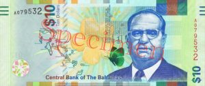 Billet 10 Dollar Bahamas BSD 2016 recto