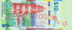 Billet 10 Dollar Bahamas BSD 2016 verso