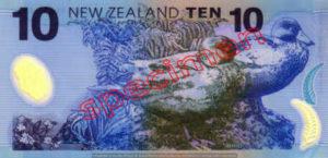Billet 10 Dollar Nouvelle Zelande NZD Serie 6 verso