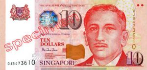 Billet 10 Dollar Singapour SGD 4ème Série IV recto