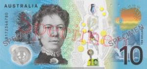 Billet 10 Dollars Australie AUD II verso