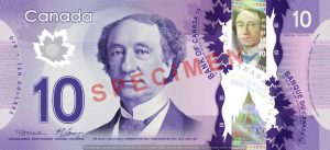 Billet 10 Dollars Canada CAD recto