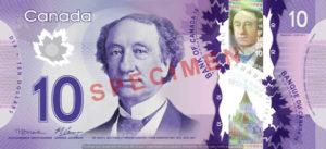 Billet 10 Dollars Canada CAD recto