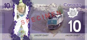 Billet 10 Dollars Canada CAD verso
