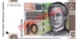Billet 10 Kuna Croatie HRK recto