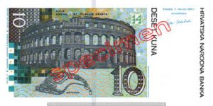 Billet 10 Kuna Croatie HRK verso