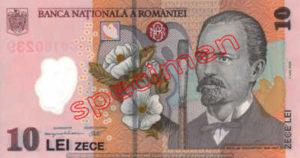 Billet 10 Lei Roumanie RON recto