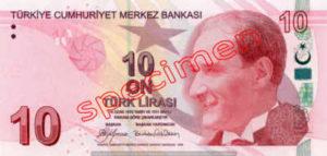 Billet 10 Livre Turquie TRY recto