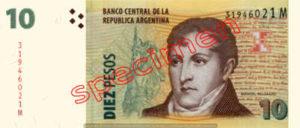 Billet 10 Pesos Argentine ARS Type I recto