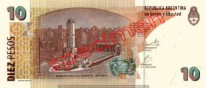 Billet 10 Pesos Argentine ARS Type I verso