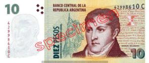 Billet 10 Pesos Argentine ARS Type II recto