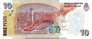 Billet 10 Pesos Argentine ARS Type II verso