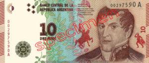 Billet 10 Pesos Argentine ARS Type III recto