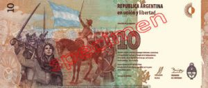 Billet 10 Pesos Argentine ARS Type III verso