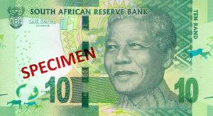 Billet 10 Rand Sud-Afrique ZAR recto