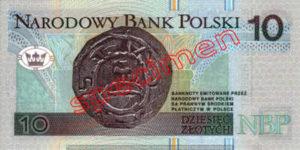 Billet 10 Zloty Pologne PLN Type I verso